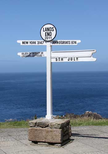 Land's End signpost Cornwall